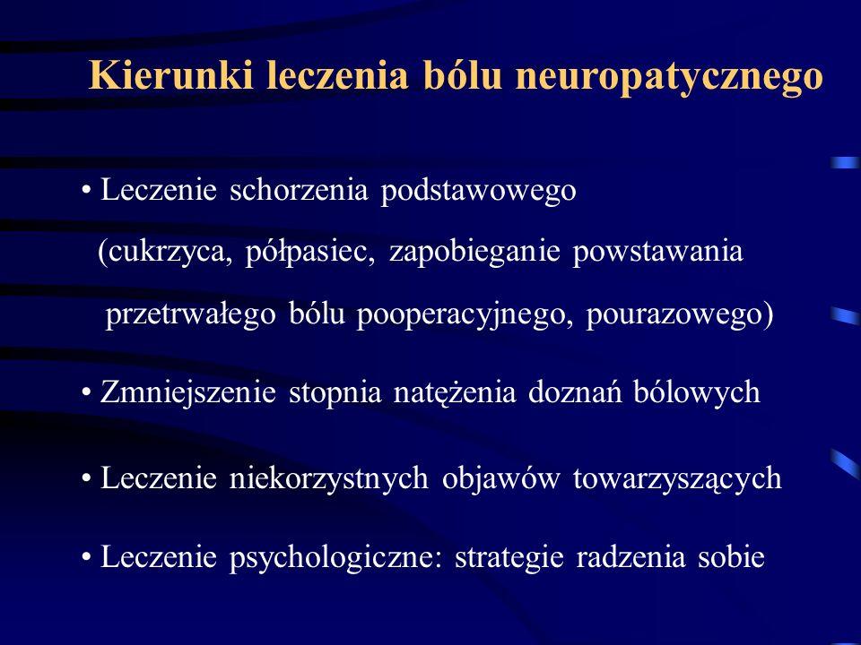 Kierunki leczenia bólu neuropatycznego Leczenie schorzenia podstawowego (cukrzyca, półpasiec, zapobieganie powstawania przetrwałego bólu pooperacyjneg