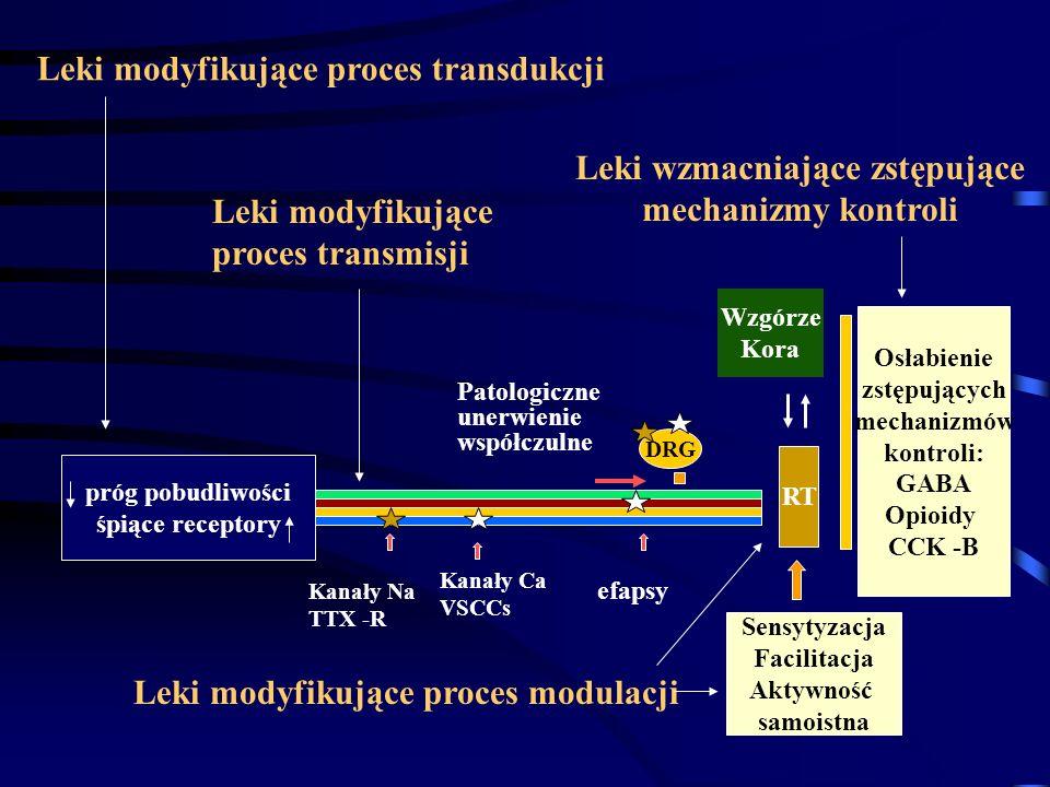 Leki modyfikujące proces transdukcji DRG RT Kanały Na TTX -R Kanały Ca VSCCs efapsy Sensytyzacja Facilitacja Aktywność samoistna Osłabienie zstępujący