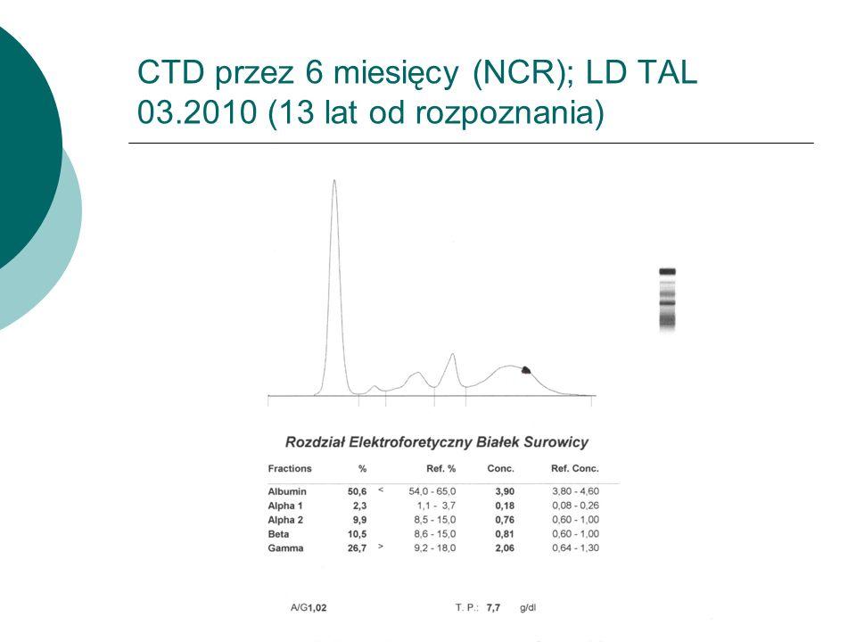 CTD przez 6 miesięcy (NCR); LD TAL 03.2010 (13 lat od rozpoznania)