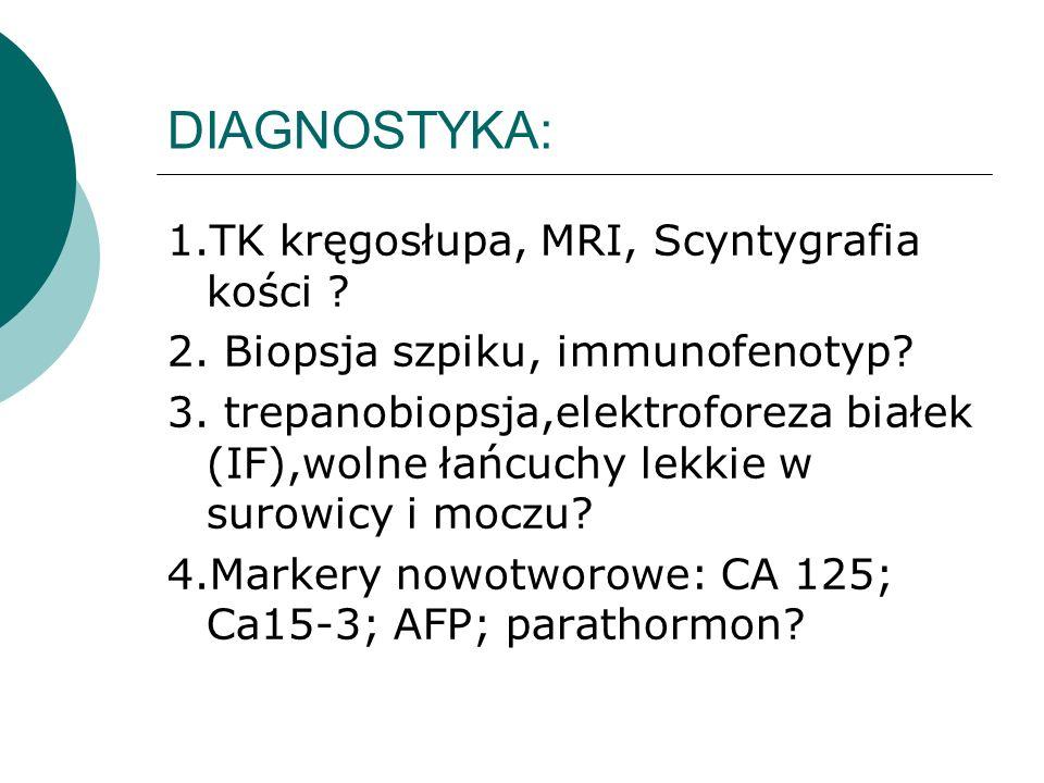 DIAGNOSTYKA: 1.TK kręgosłupa, MRI, Scyntygrafia kości ? 2. Biopsja szpiku, immunofenotyp? 3. trepanobiopsja,elektroforeza białek (IF),wolne łańcuchy l