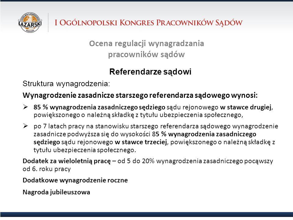 Ocena regulacji wynagradzania pracowników sądów Referendarze sądowi Struktura wynagrodzenia: Wynagrodzenie zasadnicze starszego referendarza sądowego