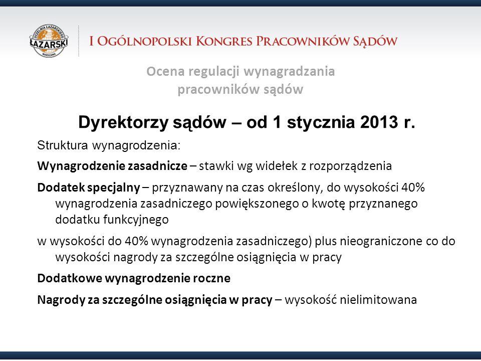 Ocena regulacji wynagradzania pracowników sądów Dyrektorzy sądów – od 1 stycznia 2013 r. Struktura wynagrodzenia: Wynagrodzenie zasadnicze – stawki wg