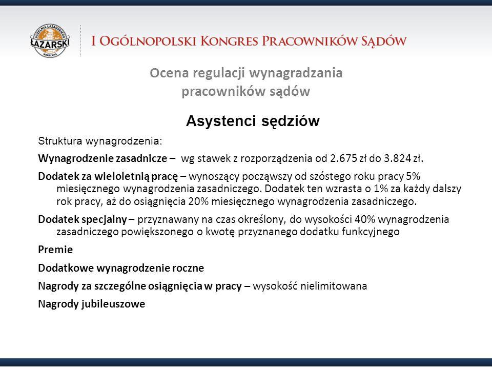 Ocena regulacji wynagradzania pracowników sądów Asystenci sędziów Struktura wynagrodzenia: Wynagrodzenie zasadnicze – wg stawek z rozporządzenia od 2.