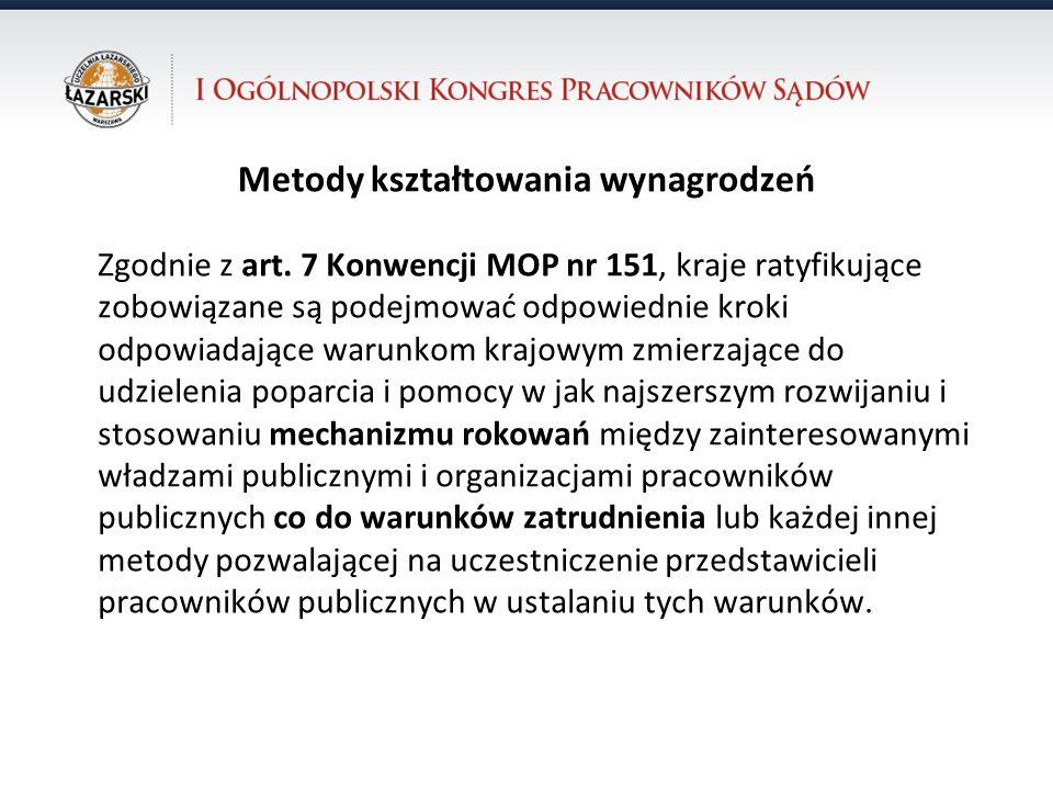 31.10.12 dr Krzysztof Walczak Metody kształtowania wynagrodzeń Zgodnie z art. 7 Konwencji MOP nr 151, kraje ratyfikujące zobowiązane są podejmować odp