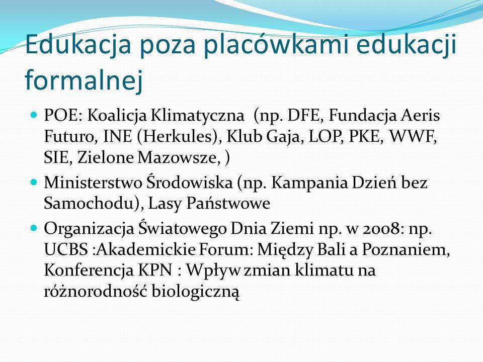 Edukacja poza placówkami edukacji formalnej POE: Koalicja Klimatyczna (np. DFE, Fundacja Aeris Futuro, INE (Herkules), Klub Gaja, LOP, PKE, WWF, SIE,