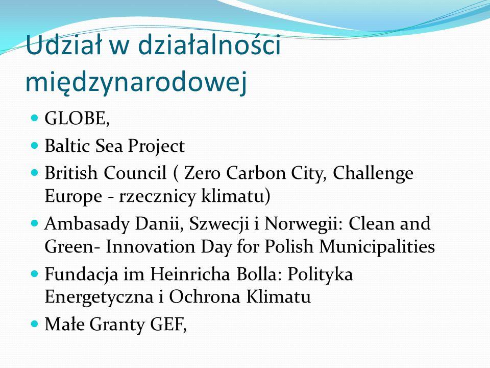 Udział w działalności międzynarodowej GLOBE, Baltic Sea Project British Council ( Zero Carbon City, Challenge Europe - rzecznicy klimatu) Ambasady Dan