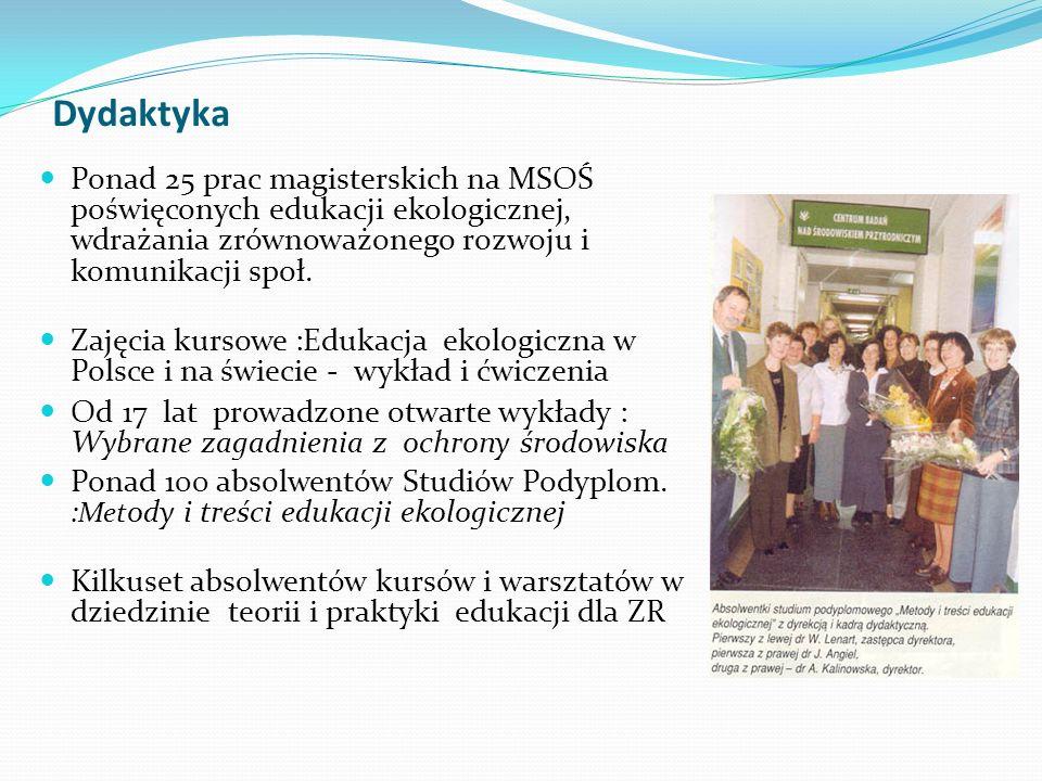 Dydaktyka Ponad 25 prac magisterskich na MSOŚ poświęconych edukacji ekologicznej, wdrażania zrównoważonego rozwoju i komunikacji społ. Zajęcia kursowe