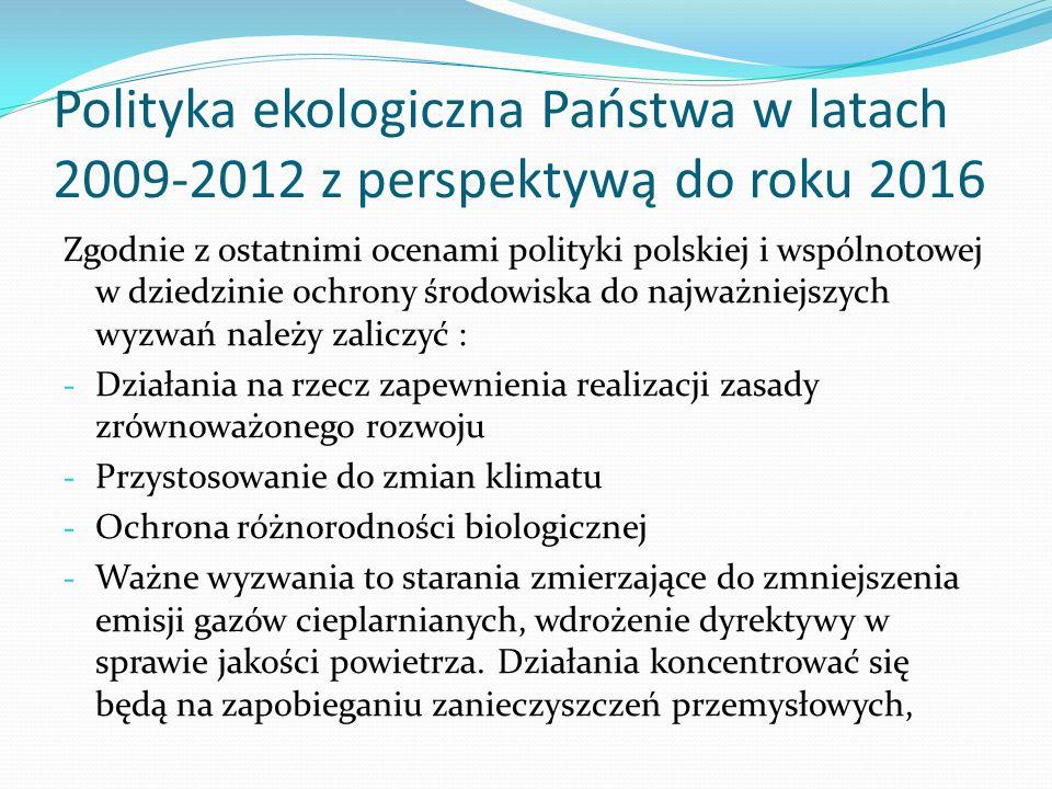 Polityka ekologiczna Państwa w latach 2009-2012 z perspektywą do roku 2016 Zgodnie z ostatnimi ocenami polityki polskiej i wspólnotowej w dziedzinie o