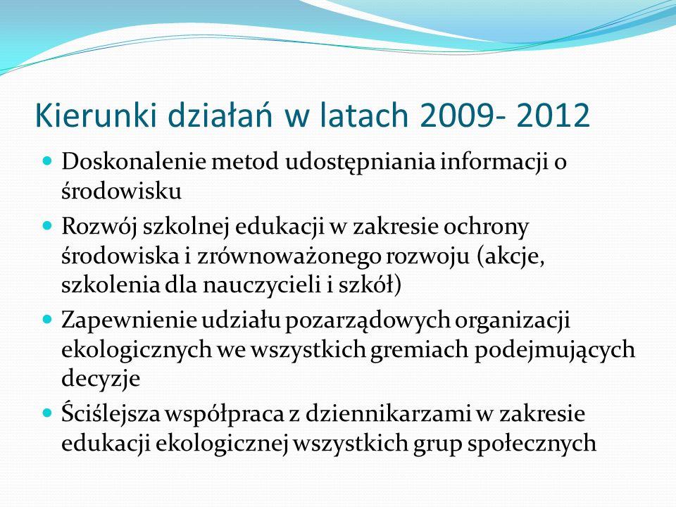 Kierunki działań w latach 2009- 2012 Doskonalenie metod udostępniania informacji o środowisku Rozwój szkolnej edukacji w zakresie ochrony środowiska i