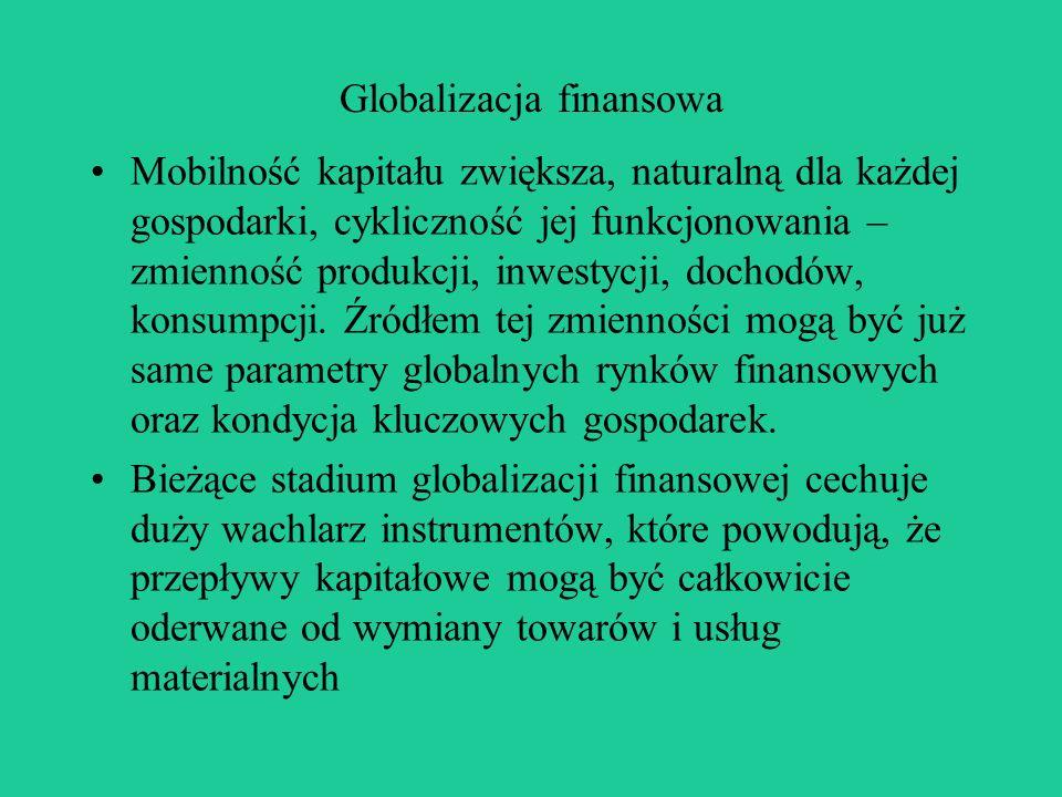 Globalizacja finansowa Mobilność kapitału zwiększa, naturalną dla każdej gospodarki, cykliczność jej funkcjonowania – zmienność produkcji, inwestycji, dochodów, konsumpcji.