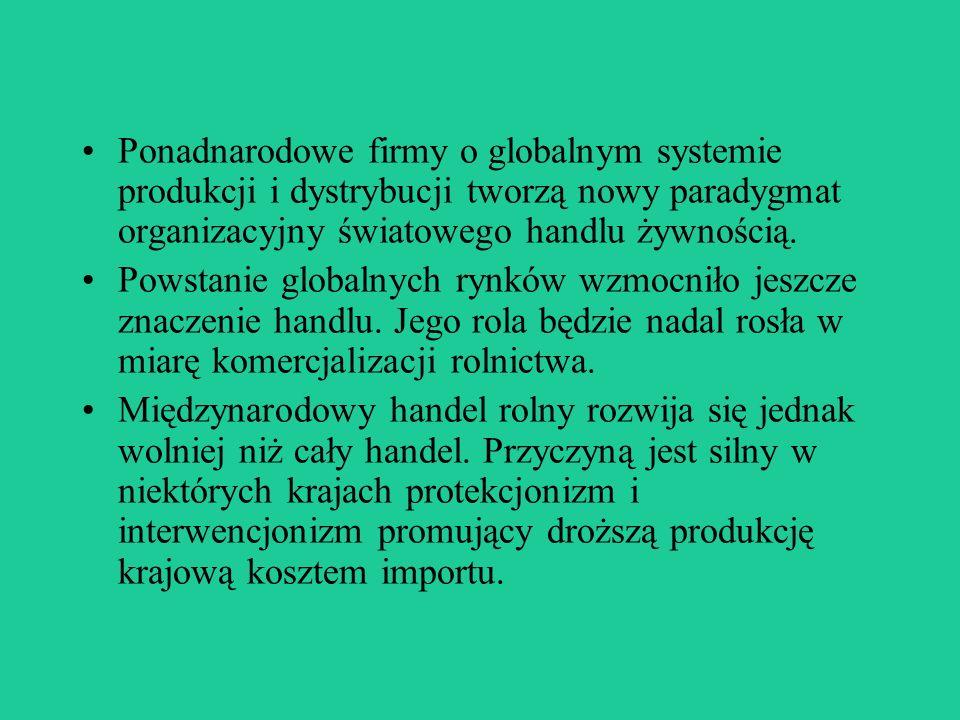 Ponadnarodowe firmy o globalnym systemie produkcji i dystrybucji tworzą nowy paradygmat organizacyjny światowego handlu żywnością.