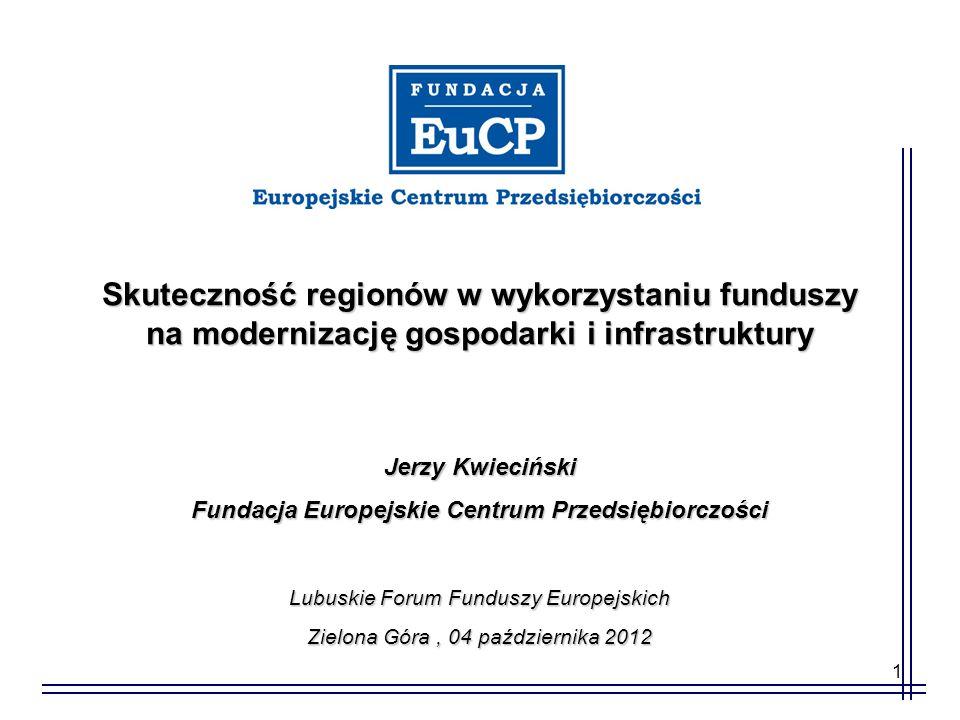 1 Skuteczność regionów w wykorzystaniu funduszy na modernizację gospodarki i infrastruktury Jerzy Kwieciński Fundacja Europejskie Centrum Przedsiębior