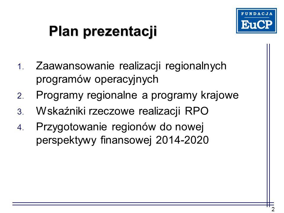2 Plan prezentacji 1. Zaawansowanie realizacji regionalnych programów operacyjnych 2. Programy regionalne a programy krajowe 3. Wskaźniki rzeczowe rea