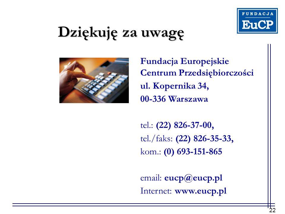 22 Dziękuję za uwagę Fundacja Europejskie Centrum Przedsiębiorczości ul. Kopernika 34, 00-336 Warszawa tel.: (22) 826-37-00, tel./faks: (22) 826-35-33
