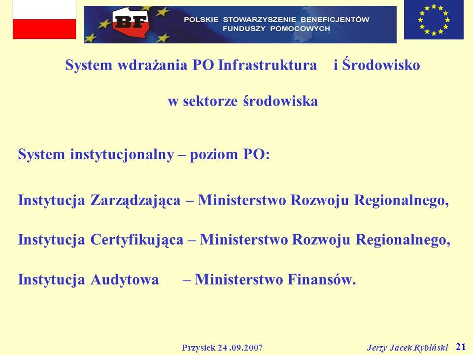 Przysiek 24.09.2007 Jerzy Jacek Rybiński 21 System wdrażania PO Infrastruktura i Środowisko w sektorze środowiska System instytucjonalny – poziom PO: