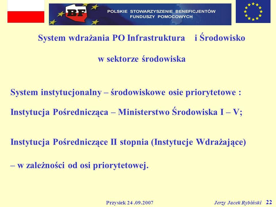 Przysiek 24.09.2007 Jerzy Jacek Rybiński 22 System wdrażania PO Infrastruktura i Środowisko w sektorze środowiska System instytucjonalny – środowiskow