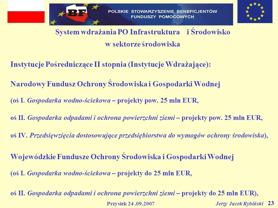 Przysiek 24.09.2007 Jerzy Jacek Rybiński 23 System wdrażania PO Infrastruktura i Środowisko w sektorze środowiska Instytucje Pośredniczące II stopnia