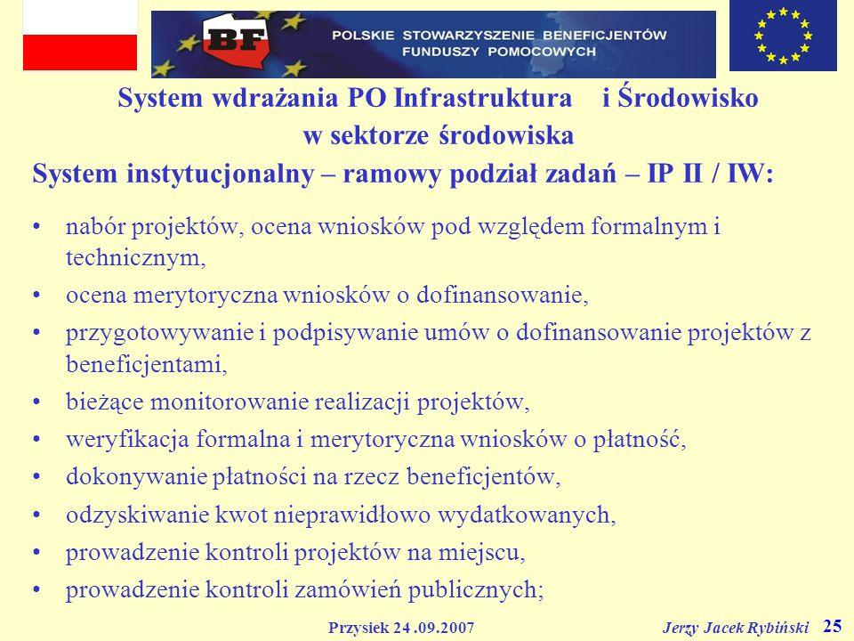 Przysiek 24.09.2007 Jerzy Jacek Rybiński 25 System wdrażania PO Infrastruktura i Środowisko w sektorze środowiska System instytucjonalny – ramowy podz