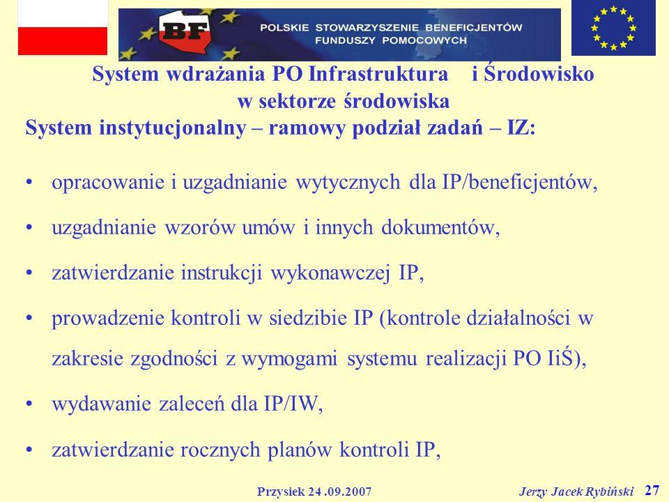 Przysiek 24.09.2007 Jerzy Jacek Rybiński 27 System wdrażania PO Infrastruktura i Środowisko w sektorze środowiska System instytucjonalny – ramowy podz