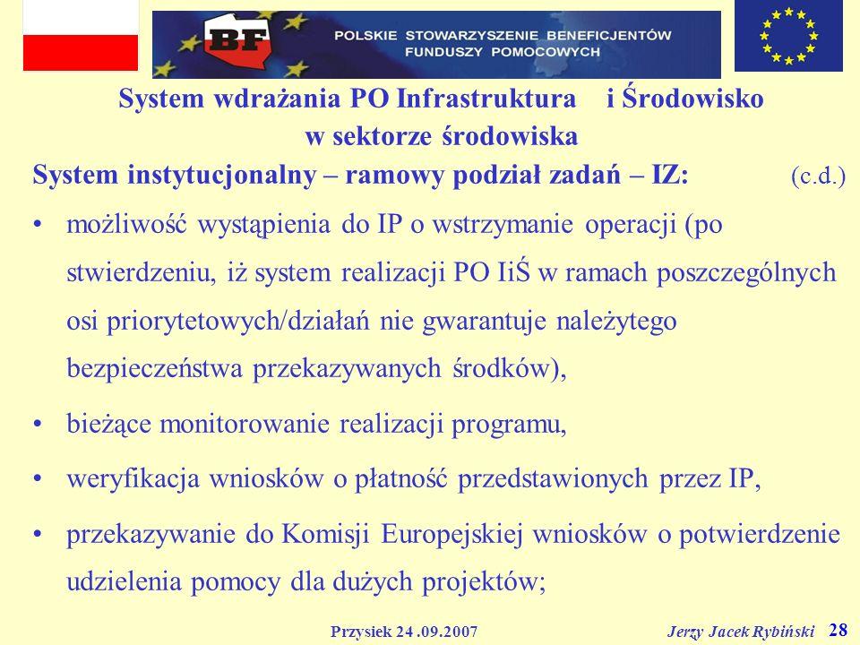 Przysiek 24.09.2007 Jerzy Jacek Rybiński 28 System wdrażania PO Infrastruktura i Środowisko w sektorze środowiska System instytucjonalny – ramowy podz