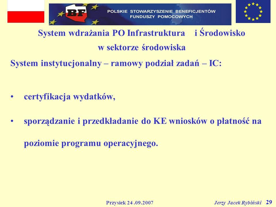 Przysiek 24.09.2007 Jerzy Jacek Rybiński 29 System wdrażania PO Infrastruktura i Środowisko w sektorze środowiska System instytucjonalny – ramowy podz