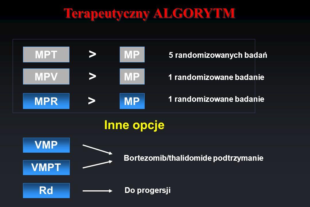 Terapeutyczny ALGORYTM VMP VMPT Bortezomib/thalidomide podtrzymanie MP MPV MPT MPR MP > > 5 randomizowanych badań 1 randomizowane badanie > Rd Do prog