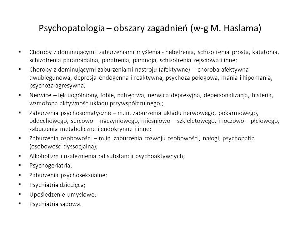 Psychopatologia – obszary zagadnień (w-g M. Haslama) Choroby z dominującymi zaburzeniami myślenia - hebefrenia, schizofrenia prosta, katatonia, schizo