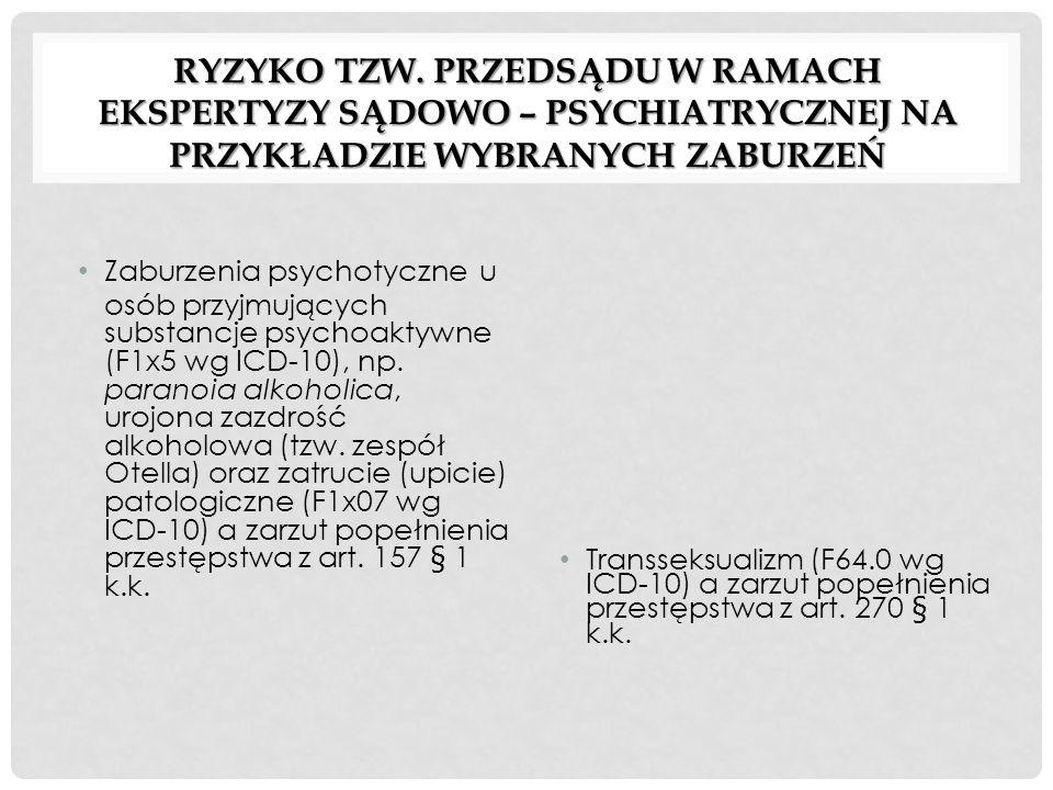 RYZYKO TZW. PRZEDSĄDU W RAMACH EKSPERTYZY SĄDOWO – PSYCHIATRYCZNEJ NA PRZYKŁADZIE WYBRANYCH ZABURZEŃ Zaburzenia psychotyczne u osób przyjmujących subs
