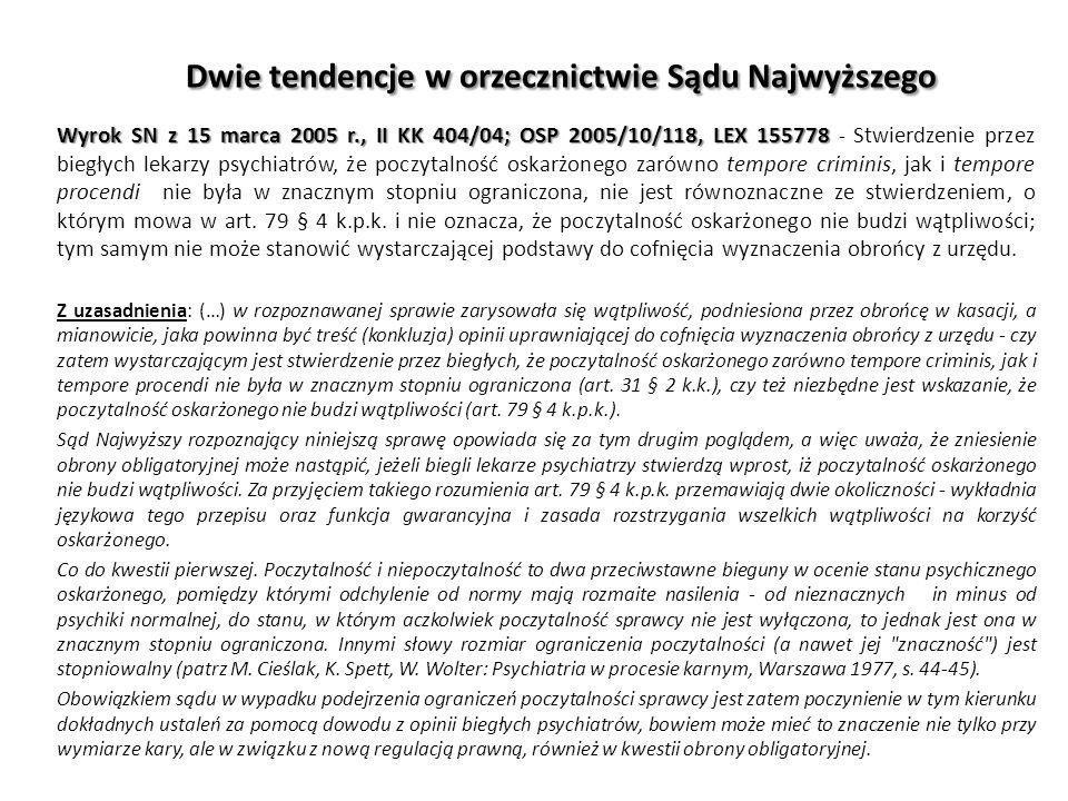 Dwie tendencje w orzecznictwie Sądu Najwyższego Wyrok SN z 15 marca 2005 r., II KK 404/04; OSP 2005/10/118, LEX 155778 Wyrok SN z 15 marca 2005 r., II