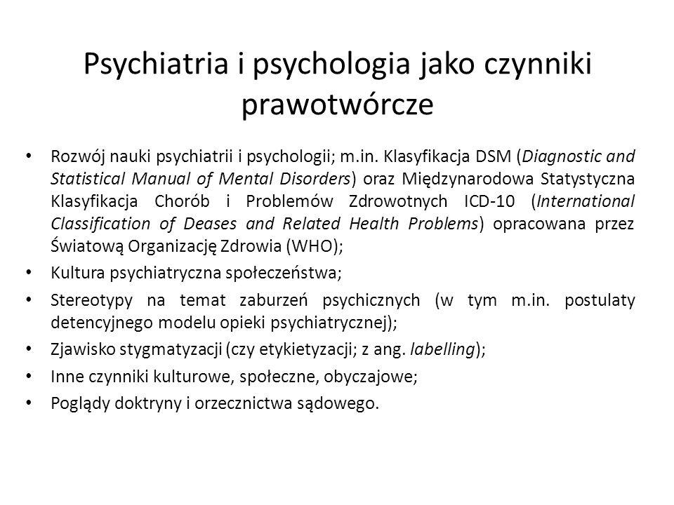 Psychiatria i psychologia jako czynniki prawotwórcze Rozwój nauki psychiatrii i psychologii; m.in. Klasyfikacja DSM (Diagnostic and Statistical Manual