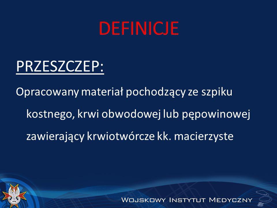 PRZESZCZEP: Opracowany materiał pochodzący ze szpiku kostnego, krwi obwodowej lub pępowinowej zawierający krwiotwórcze kk. macierzyste