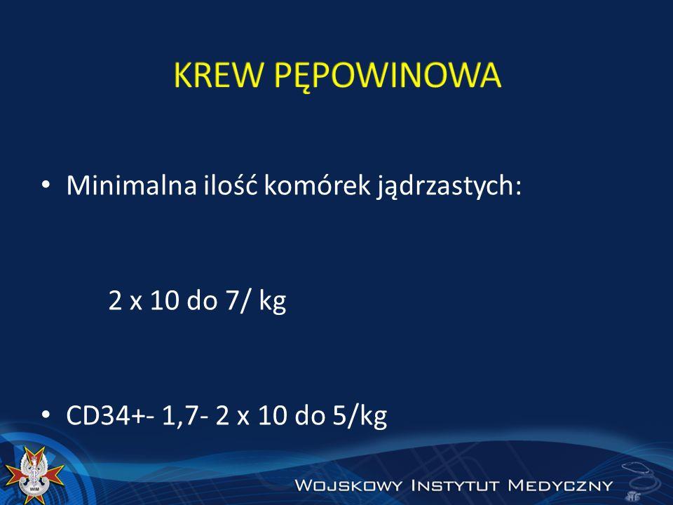 Minimalna ilość komórek jądrzastych: 2 x 10 do 7/ kg CD34+- 1,7- 2 x 10 do 5/kg