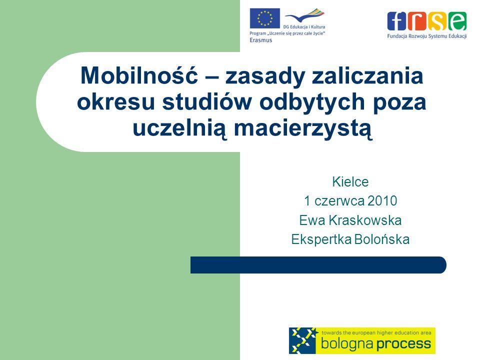 Mobilność – zasady zaliczania okresu studiów odbytych poza uczelnią macierzystą Kielce 1 czerwca 2010 Ewa Kraskowska Ekspertka Bolońska
