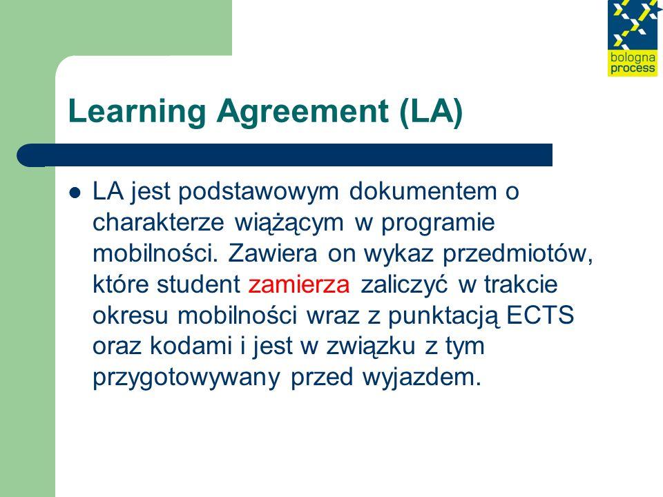 Learning Agreement (LA) LA jest podstawowym dokumentem o charakterze wiążącym w programie mobilności. Zawiera on wykaz przedmiotów, które student zami