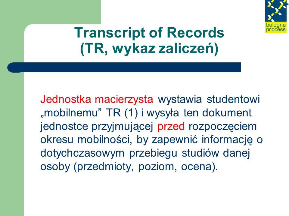 Transcript of Records (TR, wykaz zaliczeń) Po ukończeniu okresu mobilności jednostka przyjmująca wystawia TR (2), by formalnie potwierdzić efekty osiągnięte przez studenta podczas studiów za granicą oraz sprecyzować, jaki system ocen w niej funkcjonuje.