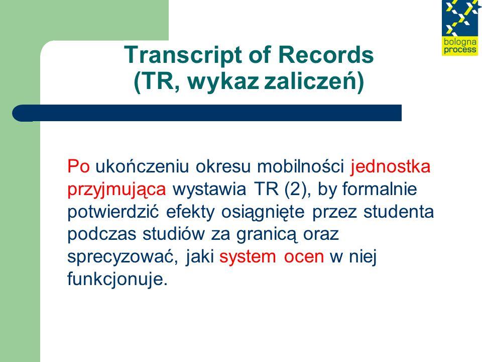 Transcript of Records (TR, wykaz zaliczeń) Po ukończeniu okresu mobilności jednostka przyjmująca wystawia TR (2), by formalnie potwierdzić efekty osią
