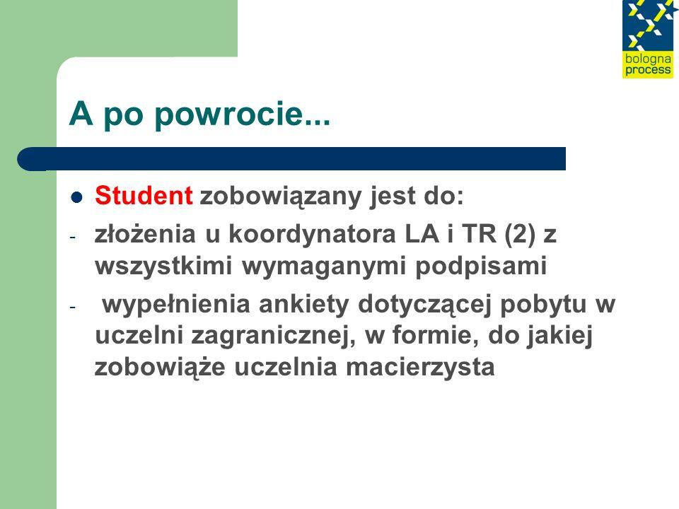 A po powrocie... Student zobowiązany jest do: - złożenia u koordynatora LA i TR (2) z wszystkimi wymaganymi podpisami - wypełnienia ankiety dotyczącej