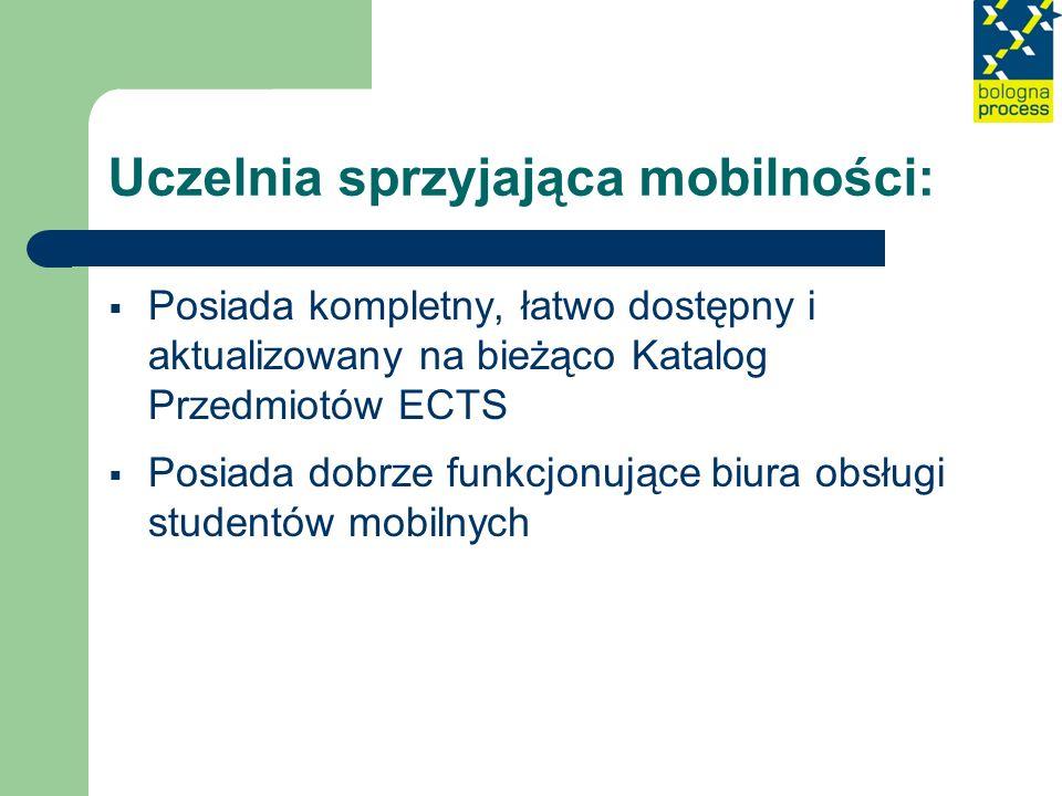 Uczelnia sprzyjająca mobilności: Posiada kompletny, łatwo dostępny i aktualizowany na bieżąco Katalog Przedmiotów ECTS Posiada dobrze funkcjonujące bi