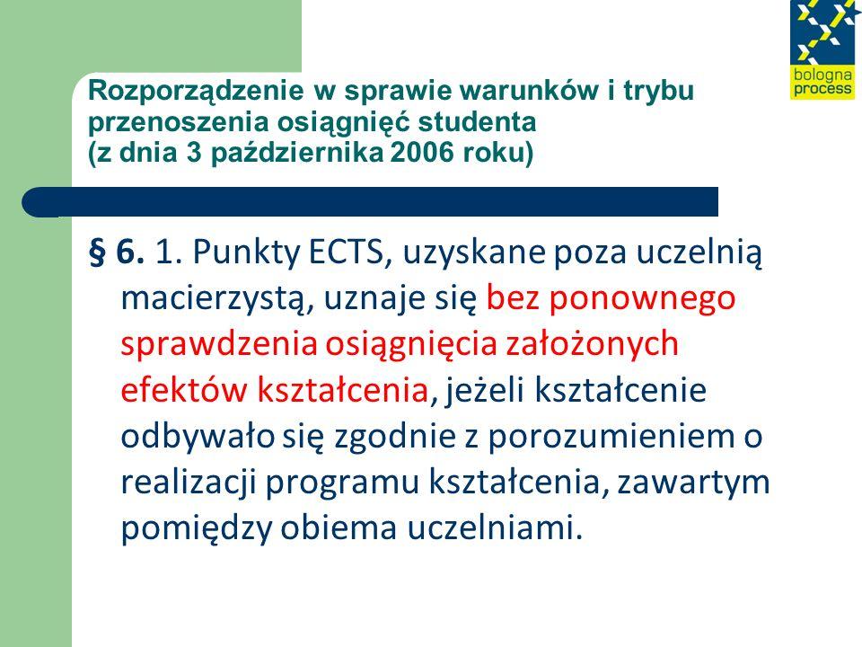 Rozporządzenie w sprawie warunków i trybu przenoszenia osiągnięć studenta (z dnia 3 października 2006 roku) § 6. 1. Punkty ECTS, uzyskane poza uczelni