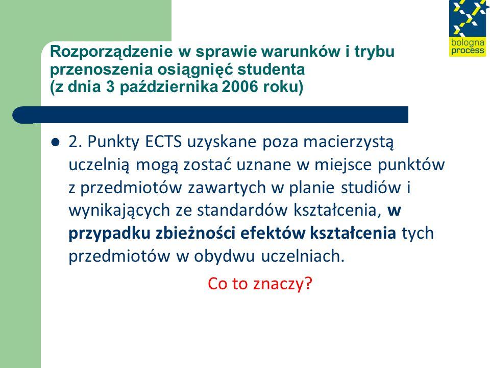 Rozporządzenie w sprawie warunków i trybu przenoszenia osiągnięć studenta (z dnia 3 października 2006 roku) 2. Punkty ECTS uzyskane poza macierzystą u