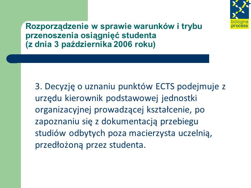 Rozporządzenie w sprawie warunków i trybu przenoszenia osiągnięć studenta (z dnia 3 października 2006 roku) 3. Decyzję o uznaniu punktów ECTS podejmuj