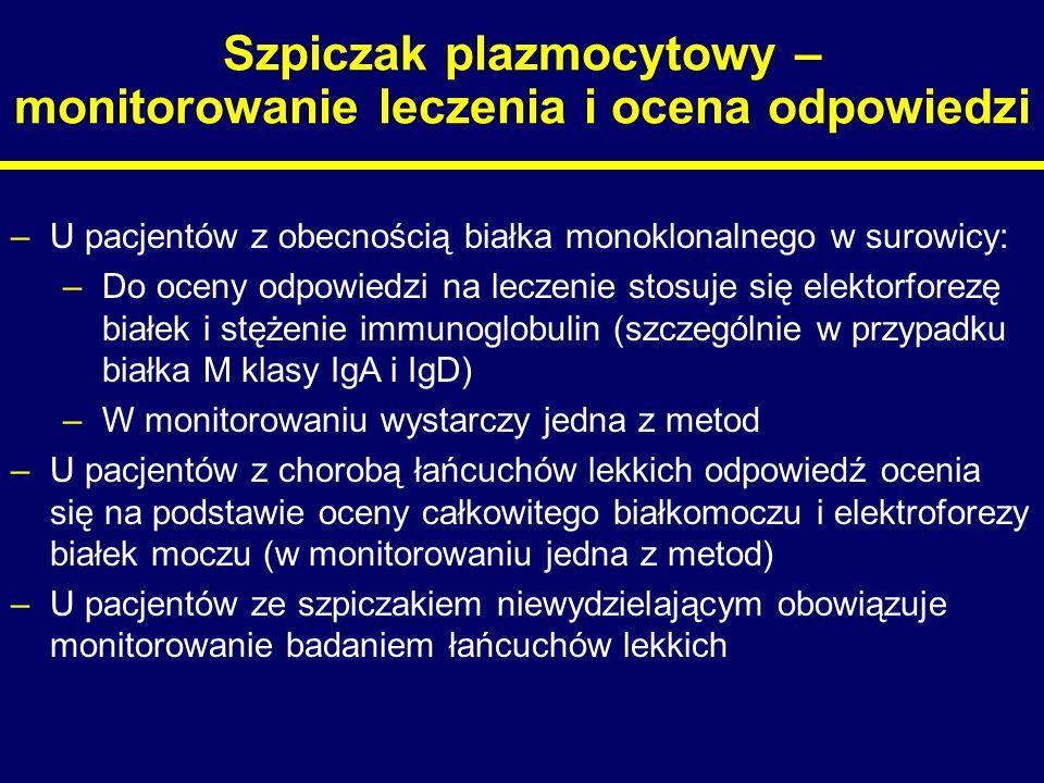 Szpiczak plazmocytowy – monitorowanie leczenia i ocena odpowiedzi –U pacjentów z obecnością białka monoklonalnego w surowicy: –Do oceny odpowiedzi na