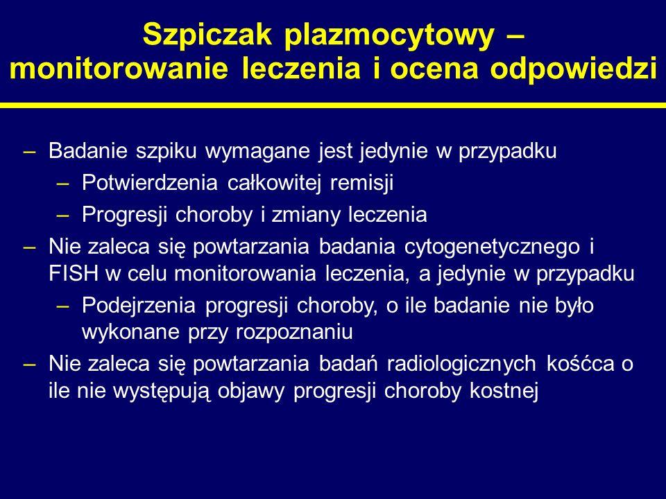 Szpiczak plazmocytowy – monitorowanie leczenia i ocena odpowiedzi –Badanie szpiku wymagane jest jedynie w przypadku –Potwierdzenia całkowitej remisji