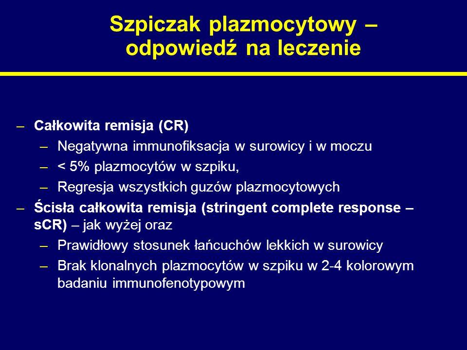 Szpiczak plazmocytowy – odpowiedź na leczenie –Całkowita remisja (CR) –Negatywna immunofiksacja w surowicy i w moczu –< 5% plazmocytów w szpiku, –Regr