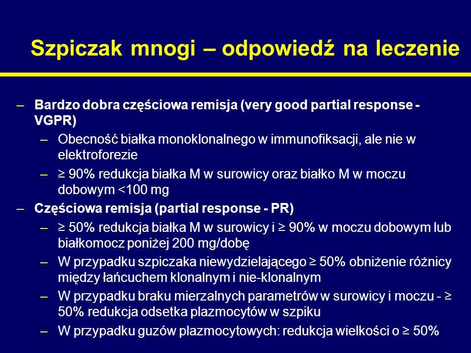 Szpiczak mnogi – odpowiedź na leczenie –Bardzo dobra częściowa remisja (very good partial response - VGPR) –Obecność białka monoklonalnego w immunofik