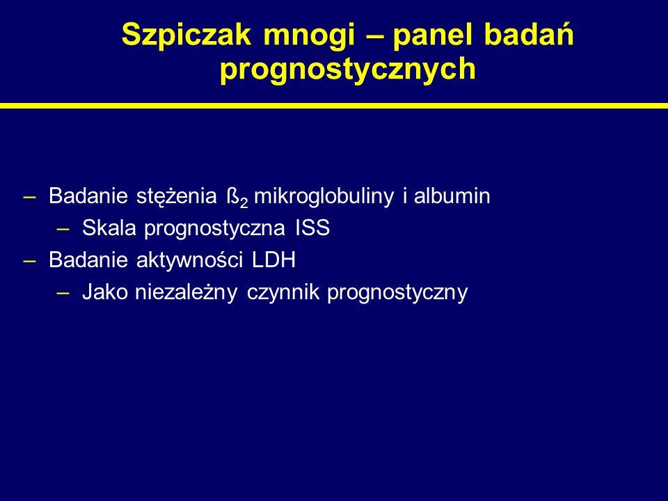 Szpiczak mnogi – panel badań prognostycznych –Badanie stężenia ß 2 mikroglobuliny i albumin –Skala prognostyczna ISS –Badanie aktywności LDH –Jako nie