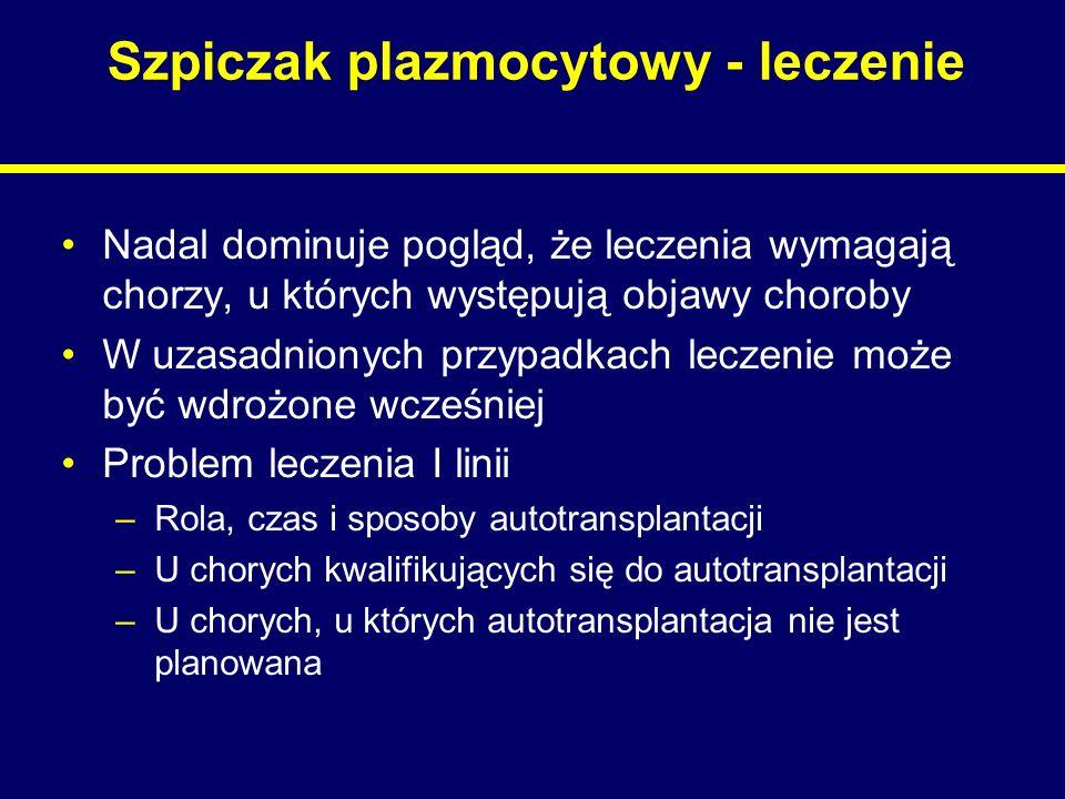 Szpiczak plazmocytowy - leczenie Nadal dominuje pogląd, że leczenia wymagają chorzy, u których występują objawy choroby W uzasadnionych przypadkach le