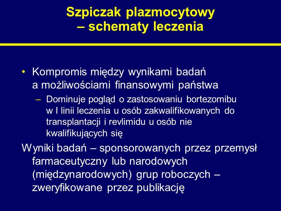 Szpiczak plazmocytowy – schematy leczenia Kompromis między wynikami badań a możliwościami finansowymi państwa –Dominuje pogląd o zastosowaniu bortezom