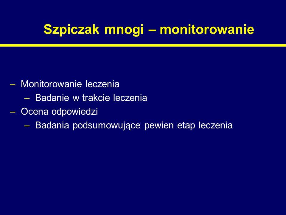Szpiczak mnogi – monitorowanie –Monitorowanie leczenia –Badanie w trakcie leczenia –Ocena odpowiedzi –Badania podsumowujące pewien etap leczenia