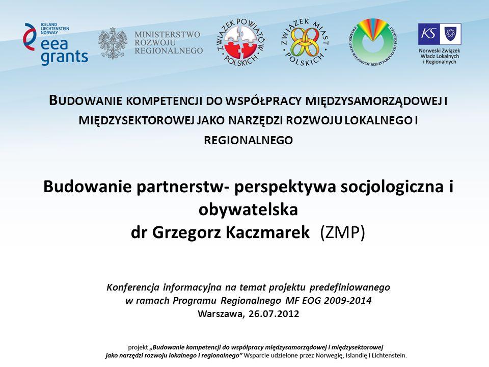 Kontekst i uzasadnienie Projektu Cel programu regionalnego MRR: Osiągniecie lepszej spójności społecznej i gospodarczej na szczeblu krajowym, regionalnym i lokalnym poprzez wypracowanie mechanizmów efektywnej współpracy między-samorządowej i międzysektorowej Cele projektu doradczego ZMP (tzw.